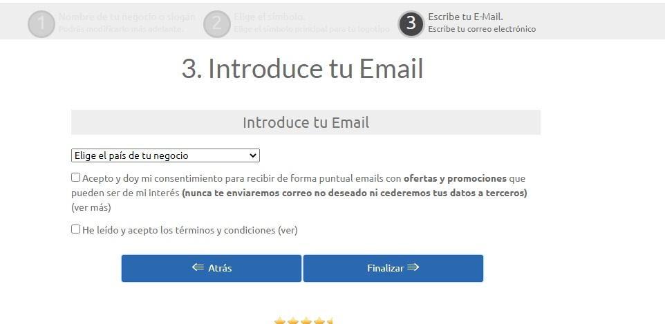 Pasos para diseñar logo para Youtube: Introduce tu email y acepta las condiciones